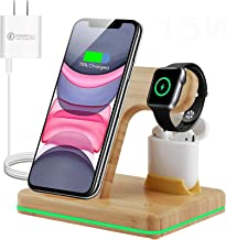 Loving Wireless Charger - Wood 3-in-1 Qi 15W Fast Charging Station for Apple iWatch Series 5/4/3/2/1, AirPods, Compatible ...