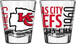 Official Fan Shop Authentic NFL Logo 2 oz Shot Glasses 2-Pack Bundle. Show Team Pride at Home, Your Bar or at The Tailgate. Gameday Shot Glasses for a Goodnight (Kansas City Chiefs - Spirit Shot)