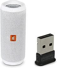 JBL Flip 4 Waterproof Portable Bluetooth Speaker, White, Bundle with USB 2.0 Bluetooth Adapter (USB-BT4LE)