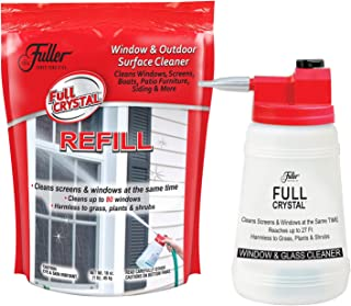 Full Crystal Kit - Bottle, Lid with Hose Attachment and 1 lb. Bag of Crystal Powder Exterior Window Cleaner for Glass and Screens (Cleans Up to 80 Windows)