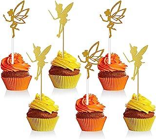 Blulu 60 Pieces Gold Glitter Fairy Cupcake Toppers Angel Fairy Cake Toppers Glitter Ballet Dancer Toppers for Birthday Bri...