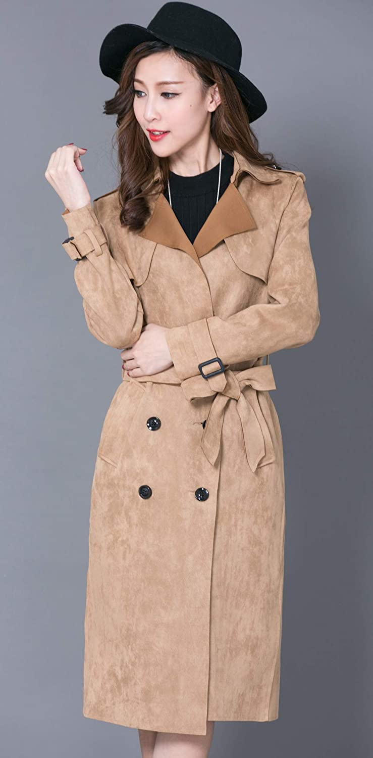 chouyatou Women's Elegant Notched Collar Double Breast Slim Suede Long Belted Duster Coat