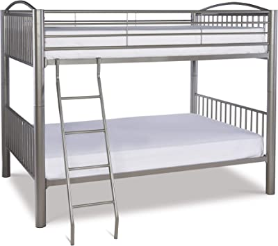 Benjara Metal Full Bunk Bed with Attached Ladder, Silver