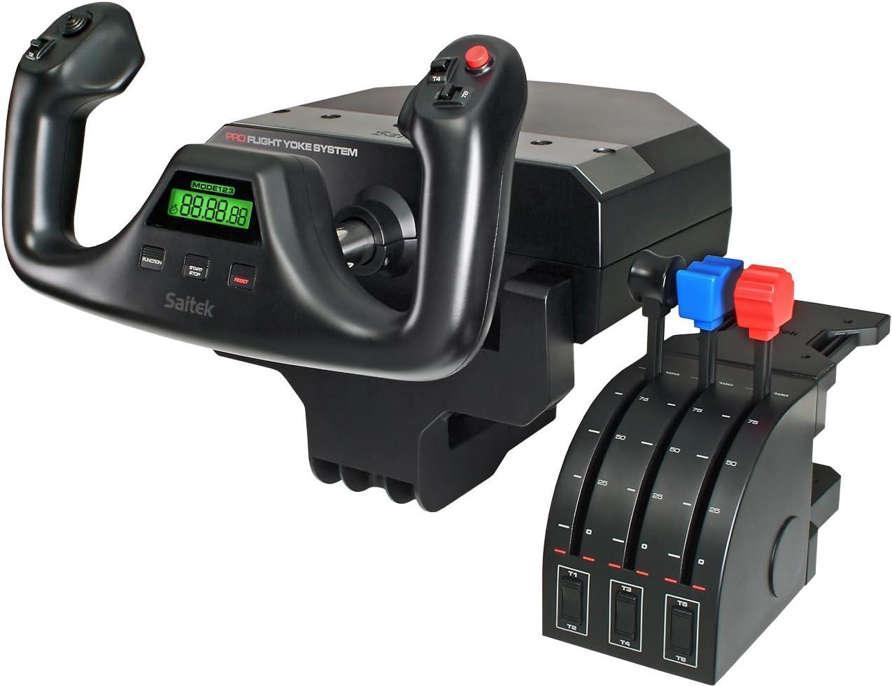 Saitek Pro Flight Yoke System - Sistema de control para simuladores de vuelo en PC - Joystick y Acelerador
