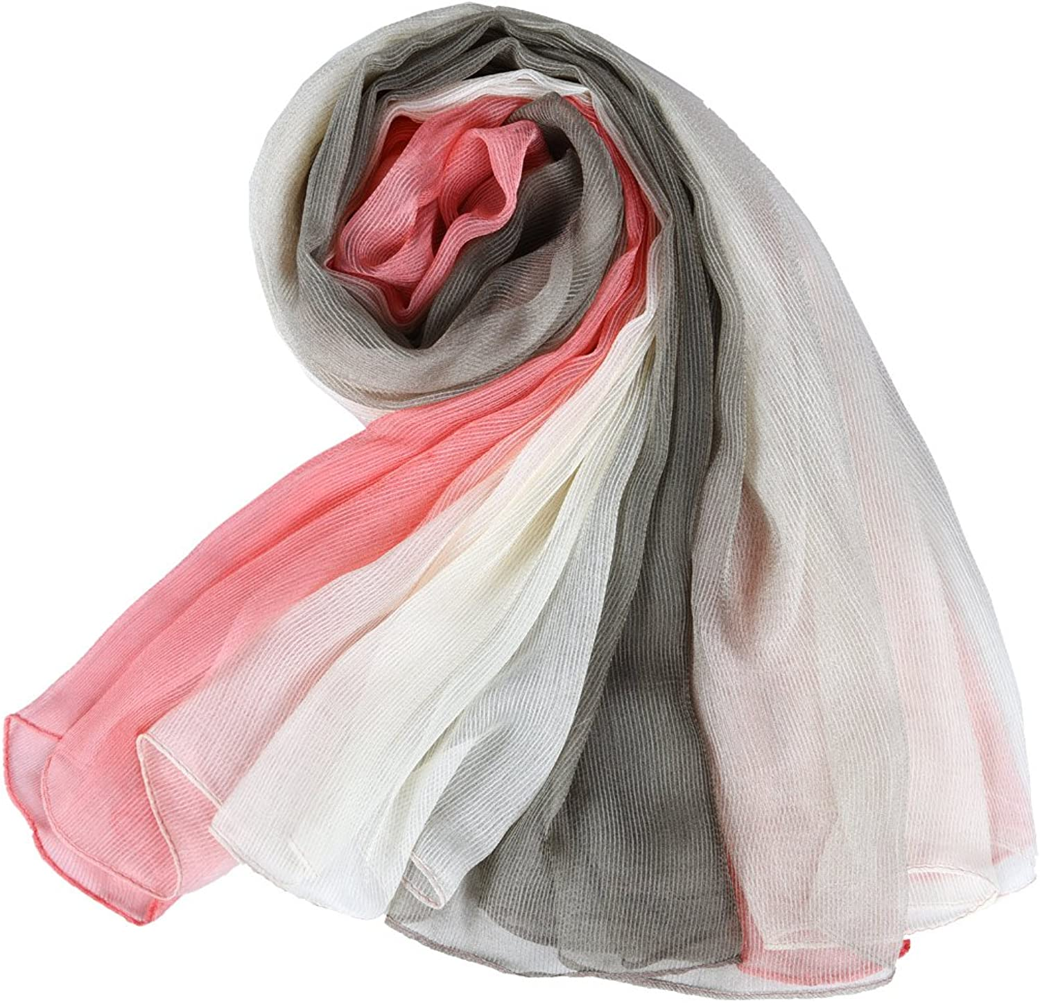 Crinkle Stretch Silk Scarf, Faurn Women Soft Light Weight Oversized Silk Scarf Gradient colors