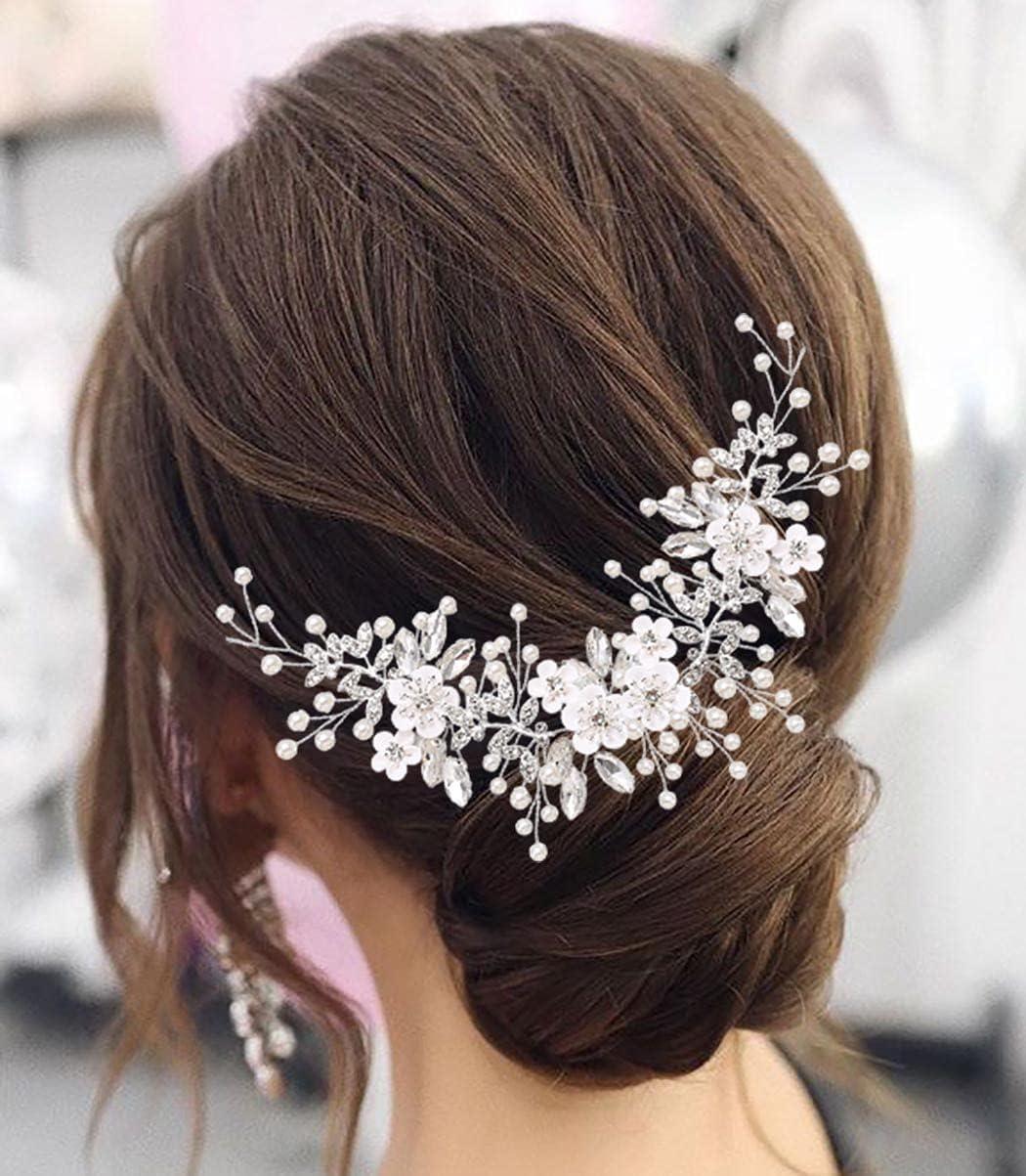 Zoestar Diadema de novia de flores para novia, pelo de vid de plata con cristales de cristal para novia, pieza de pelo de hoja para mujeres y niñas