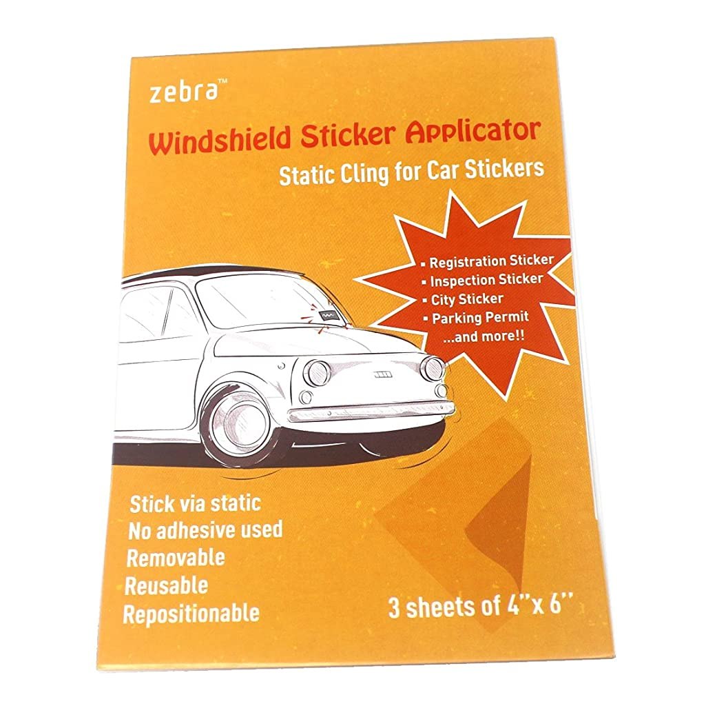 Zebra Windshield Sticker Applicator - Static Cling for Car Stickers; 4'' x 6'' Clear Films; Works with Registration Sticker, Inspection Sticker, City Sticker and Parking Permit; Pack of 3 Sheets