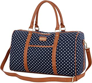 HB-25 Cute Lady Women Canvas Travel Bag Weekender Overnight Bag Carry-on Duffel Tote Bag (Blue Dot)