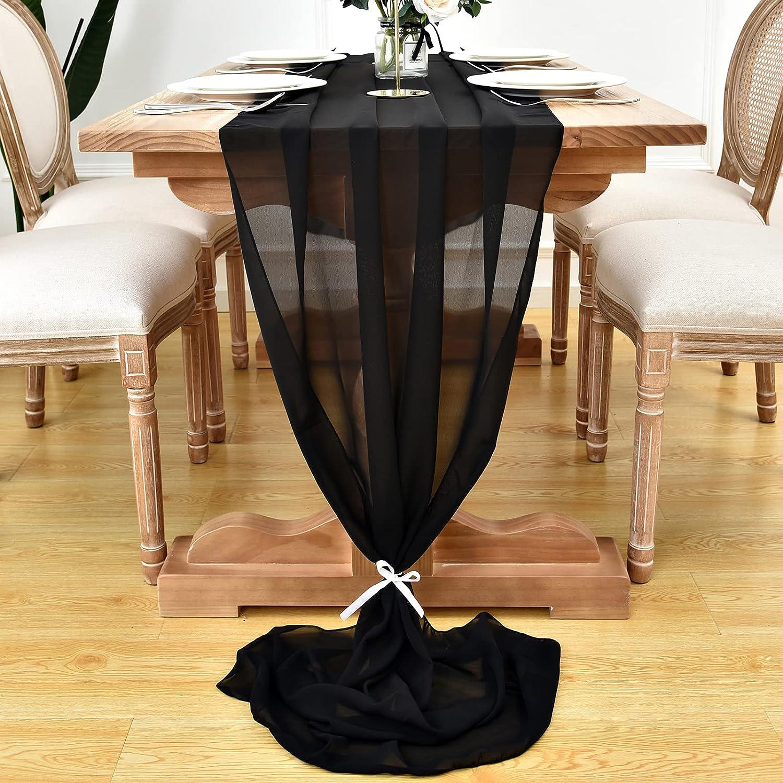 DOLOPL 4 Selling Pack Black Chiffon Table Tabl Runner 10ft famous Sheer Wedding