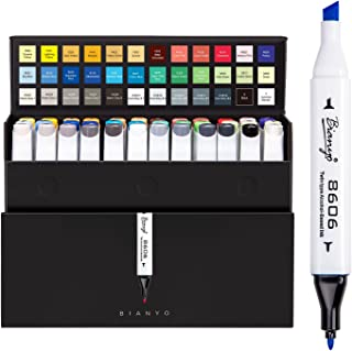Bianyo Sketch Markers 36 Set Dual Tips Art Markers Alcohol Based Highlighter Pens with Assorted Colors & Gift Box for Adults& Kids Coloring Drawing Outlining