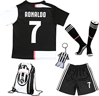 Youth Sportswear C.Ronaldo 7 Kids Home Soccer Jersey/Shorts Bag Keychain Football Socks Set