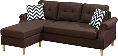 Benjara Fabric 2 Piece Sectional Sofa with Round Tapered Legs, Brown