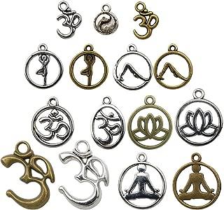 100g Yoga Charms - Mixed Antique Silver Bronze Sports Ohm Om Mala Yogi Chakra Indian Energy Love Sports Yoga Poses Slow Gossip Symbols Metal Pendants for Jewelry Making DIY Findings (HM22)