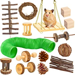 Petmolico Hamster Chew Toys Set 15 Pack, Natural Wooden Hamster Toys and Accessories Teeth Care Molar Toys for Guinea Pig...