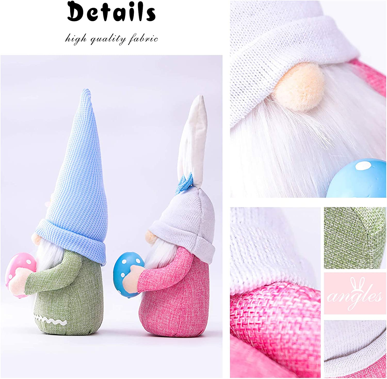 Easter Gnomes Bunny Decor Ornaments Plush Rabbit Faceless Dwarf Fairy Doll Desktop Decoration Kids Toy