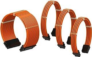 LINKUP - Cable con Manguito - Prolongación de Cable para Fuente de Alimentación con Kit de Alineadores | 1x 24P (20+4) MB | 1x 8P (4+4) CPU | 2X 8P (6+2) GPU | 50CM 500MM - Naranja