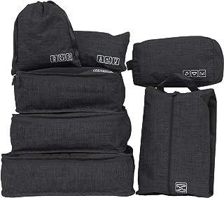 CRAIFE トラベルポーチ 7点セット アレンジケース 旅行用 収納ケース 軽量 (衣類 下着 靴 コスメ 巾着)