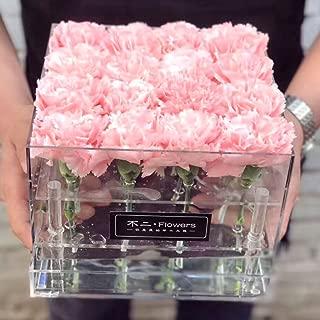 Milue Acrylic Rose Flower Box Multi Function Organizer Makeup Case Cosmetic Lid Holder (01#)