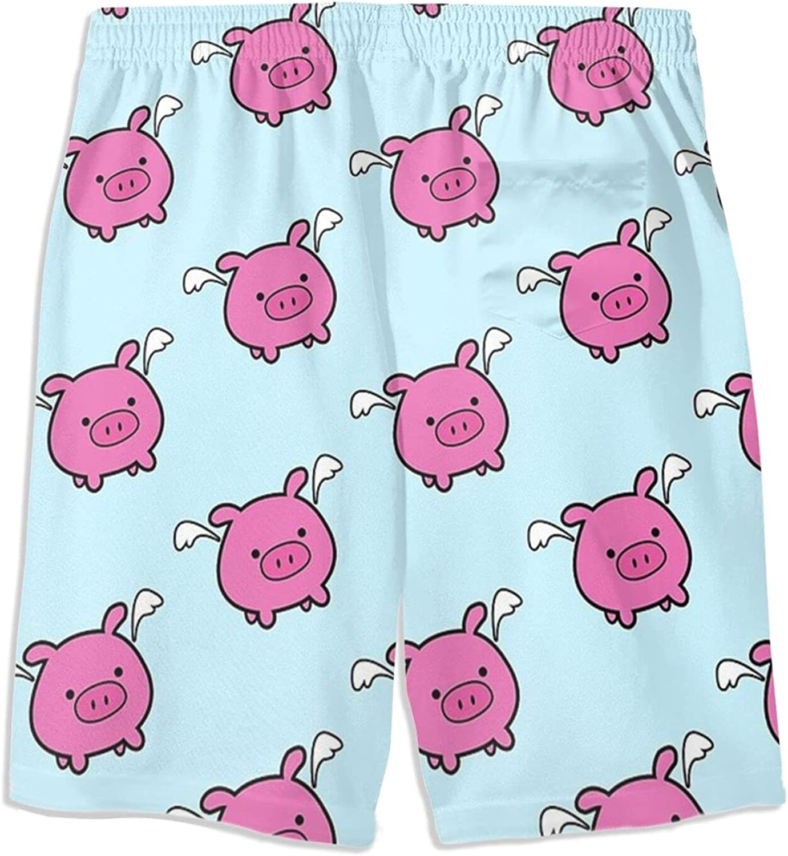 Boys Teens Swim Trunks Cute Pink Flying Pig Quick Dry Beach Board Swim Shorts 7-18T