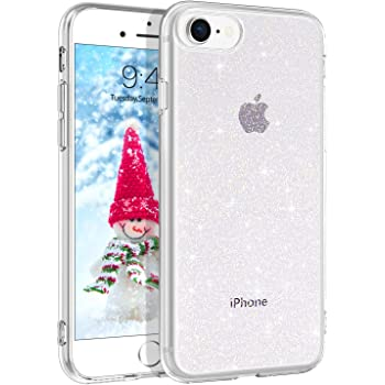 BENTOBEN iPhone SE 2020 Case, iPhone 8 Case, iPhone 7 Case, Slim Thin Crystal Clear Glitter Soft Rubber Case for iPhone SE 2nd/7/8-Clear Glitter