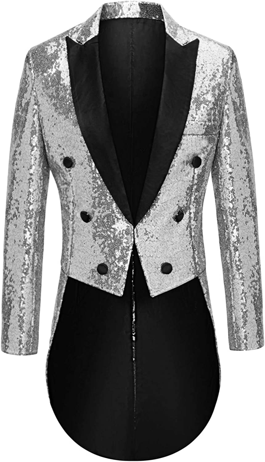 MAGE Max 50% OFF MALE Mens Sequin Tuxedo Jacket Dres Fit Tailcoat Ranking TOP9 Slim Tails