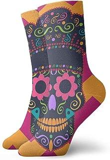 Skull Kitchen Chef Zigzag Background Crew Socks for Men - Men's Sport Socks - Athletic Socks