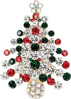 Haodeba 1 Piece Rhinestone Brooch Christmas Tree Brooch Pins Party Favor Best Gift for Girls Women Ladies