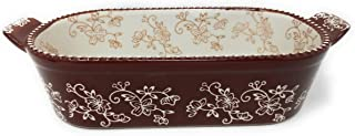 Temp-tations 2 Qt Squoval Baker, DISH ONLY, Casserole Dish Replacement (Floral Lace Chocolate)