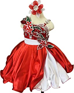 Jenniferwu Infant toddler baby newborn little Girl's Pageant party birthday Dress G221A RED SIZE 4T
