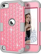 Hocase iPod Touch 7th/6th/5th Generation Case, Shockproof Heavy Duty Silicone Rubber+Hard Plastic Glitter Protective Case for iPod Model A2178, A1574, A1509, A1421 - Pink/Gray
