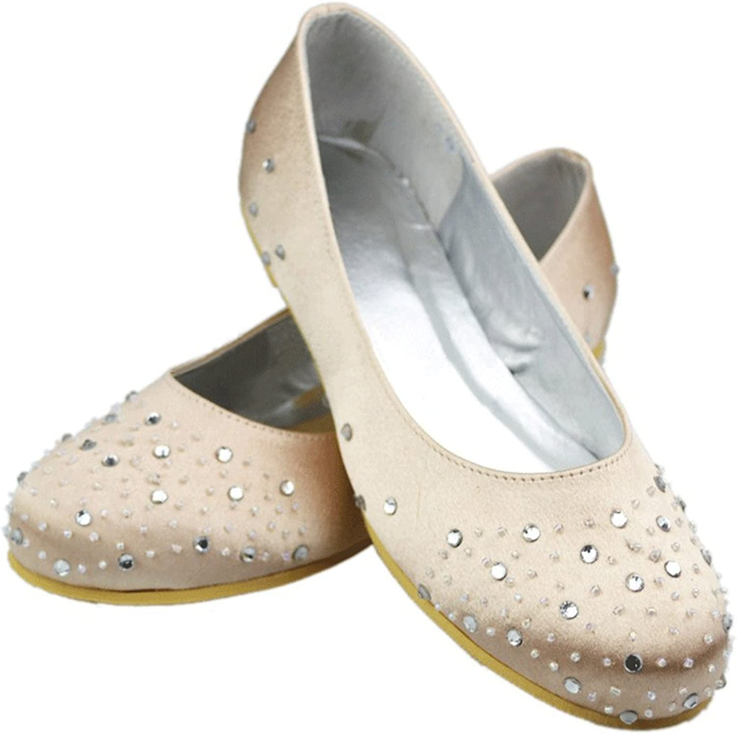 Minishion Girls Womens Sparkle Crystals Satin Wedding Party Dress Ballet Flats