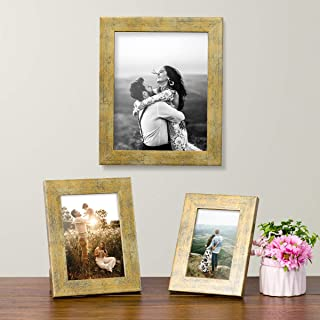 Art Street Rust Gold Set of 3 Photo Frames for Table Top Display and Wall mounting Picture Frame Home DecorSize4X6, 5X7, 8...