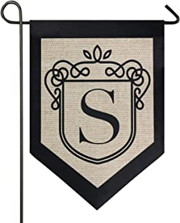 Oarencol Classic Monogram Letter S Garden Flag Double Sided Home Yard Decor Banner Outdoor 12.5 x 18 Inch