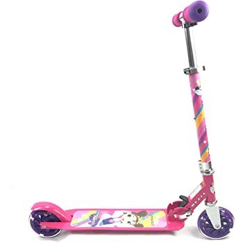 TITAN Flower Princess Folding Aluminum Girls Folding Kick Scooter with LED Light Up Wheels (Age 5+), Pink