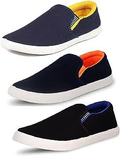 Tempo Men's Combo Pack of 3 Loafers(SLVORNG/SLVBLU/SLV Yellow)