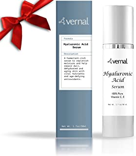 Vernal's 100% Pure Hyaluronic Acid Serum – Rich With Vitamins C, A, D, E and Age-Defying Antioxidants - Best Anti Wrinkle, Anti Aging Face Serum that Lifts and Firms Skin, Made in USA