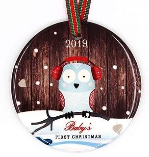 Muminglong Baby's First Christmas 2019 Ceramic Round Ornament| 2.75