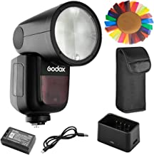 Godox V1-N Flash for Nikon, 76Ws 2.4G TTL Round Head Flash Speedlight, 1/8000 HSS, 480 Full Power Shots, 1.5 sec. Recycle Time, Interchangeable 2600mAh Lithimu Battery, 10 Level LED Modeling Lamp