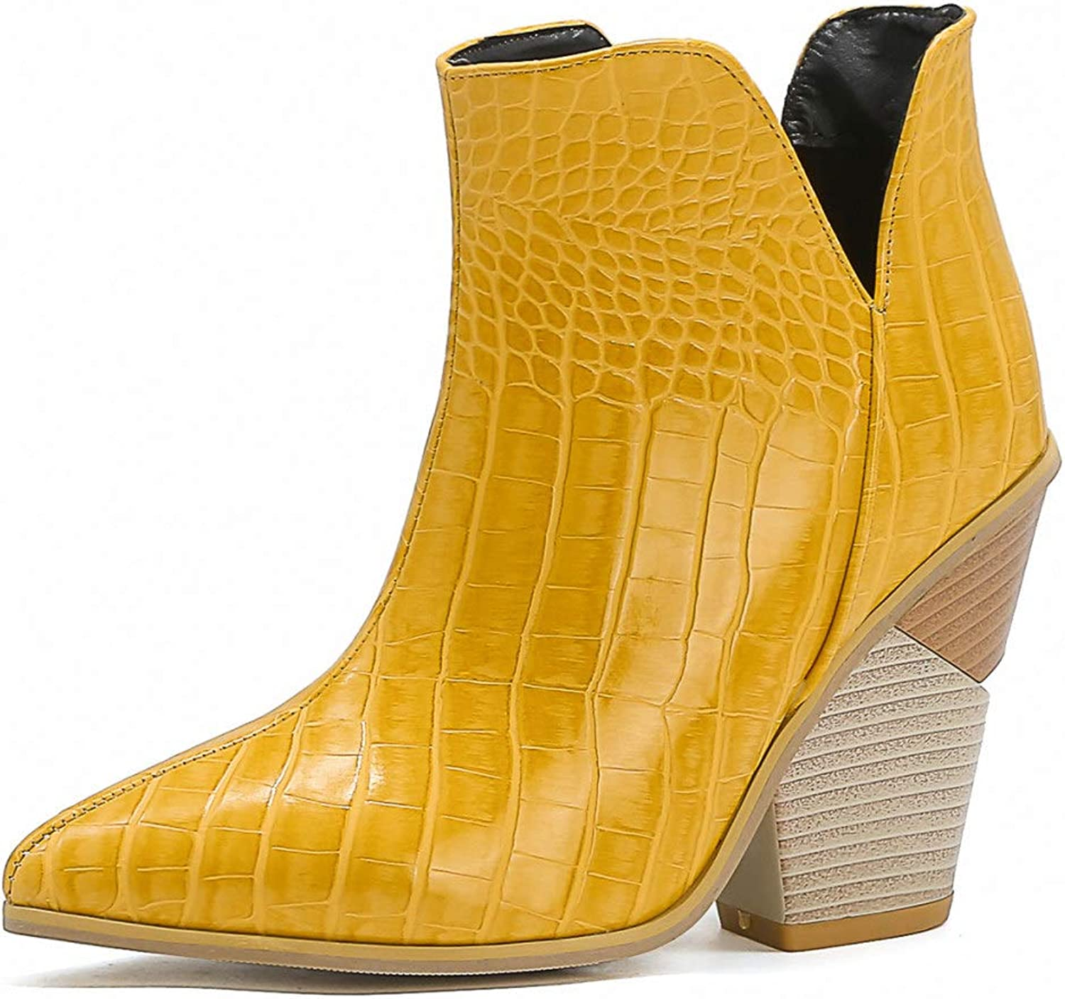 Women Sexy Indianapolis Mall Pointed Toe PU Max 83% OFF Leather Ladies Block Ankle Heels Boot