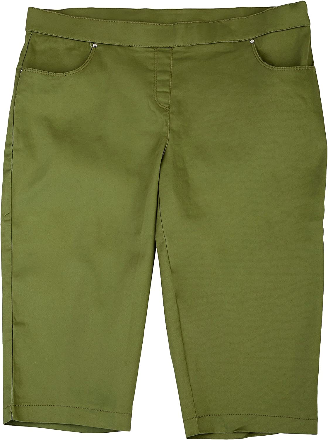Coral Bay Plus Solid Mid Rise Capris 18W Green