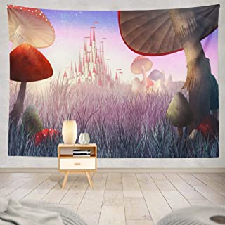 Wbluck Landscape Tapestry, Wall Hanging Tapestry, Fairy Tale Wonderland Psychedelic Tapestry Wall Decor for Room Decoration 60 L x 80 W, Fairy Tale