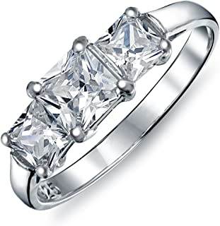 2CT Square Princess Cut 3 Stone Past Present Future Promise Ring Cubic Zirconia CZ Engagement Ring 925 Sterling Silver
