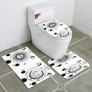 Bathroom Mat Sets 4 Piece-Non-slip - short plush the face of the sun and the moon the stars the Masonic tattoo the design of T shirts Bathroom Rug + Contour pad + lid Toilet seat+Toilet seat cushion