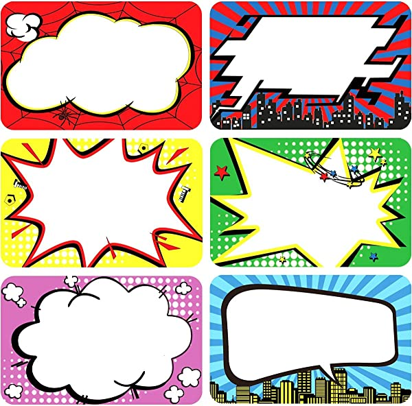 200Pcs Roll Superhero Name Tags Labels Perforation Line Design For School Office Home Stickers