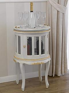 SIMONE GUARRACINO LUXURY DESIGN Table Basse Coloniale Ronde vitrine Bar casier Porte-Bouteilles Style Baroque Vénitien cra...