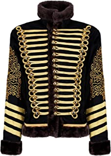 Men's Black and Gold Hussar Steampunk Parade Jacket Faux Fur