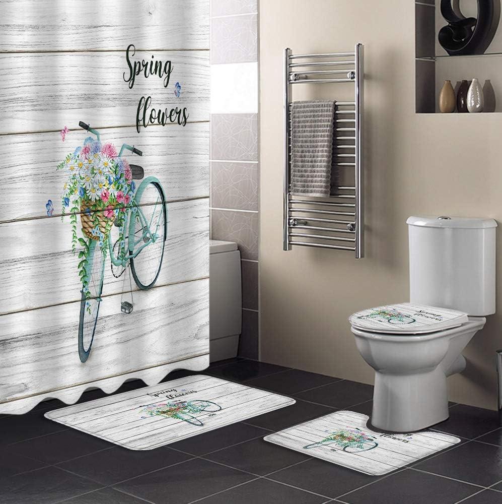 Ranking Japan Maker New TOP8 4 PCS Shower Curtain Sets with Non-Sli Waterproof Bathroom