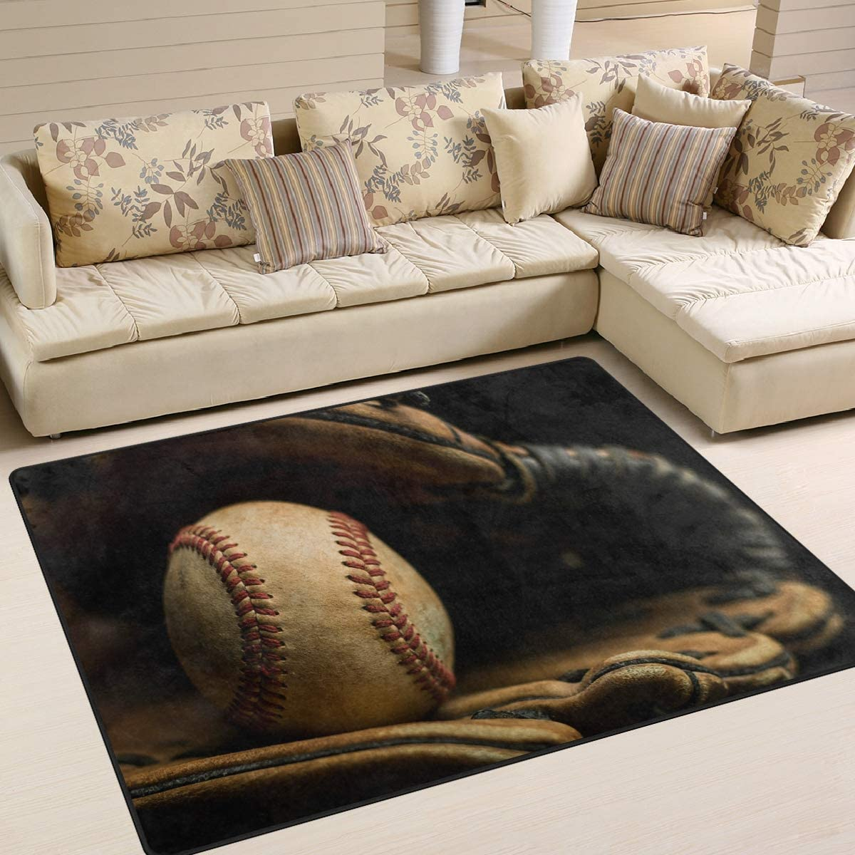 ALAZA Vintage Baseball Glove and Ball Free Shipping Cheap Bargain Gift for Area Living R Product Rugs Rug