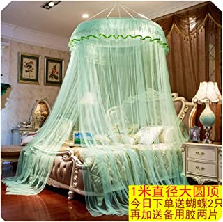 Style Hung Dome Mosquito Net Lace Curtain Canopy for Single Double Bed Adults & Kids Netting Tent Bed Polyester Mesh klamboe,menghuan Green,1.8m (6 feet) Bed