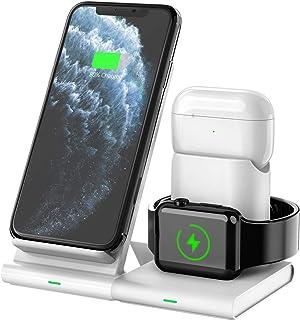 Hoidokly Cargador Inalámbrico, 3 en 1 Soporte de Carga para iPhone y Apple Watch, Base de Carga Rápida para iWatch 6/5/4/...